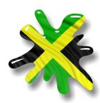 New SPLAT Design With Jamaica Jamaican Flag Motif External Vinyl Car Sticker 110x110mm